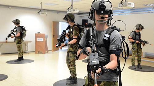 soldiers trying out VR equipment