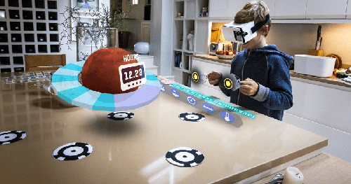 Child using the mixed reality technology
